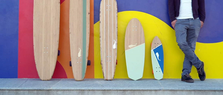 longboard landsurf skateboard Skate homemade bambù WhaleBOARDS quiver